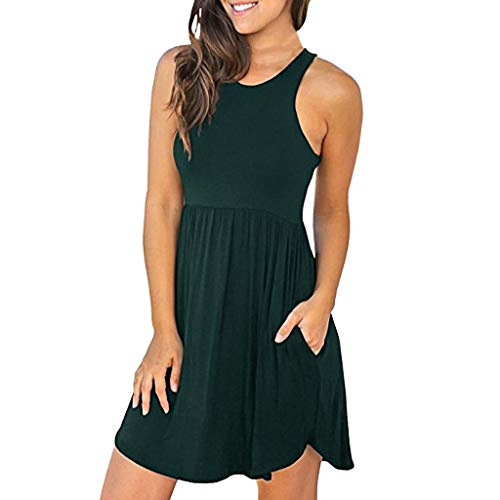 Sunhusing Women's Solid Color Slim Round Neck Sleeveless Tank Dress Elastic Waist Pocket Loose Mini Dress Army Green ()