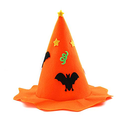 sd finger Women's Witch Hat Unisex Halloween Costume Accessory Cap (Orange) -