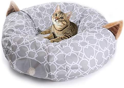Cat Dog Tunnel Bed with Cushion Tube Toys Plush Large Diameter Longer Crinkle Collapsible 3 Way for Large Cats Kittens Kitty Small Puppy Outdoor 6FT 2