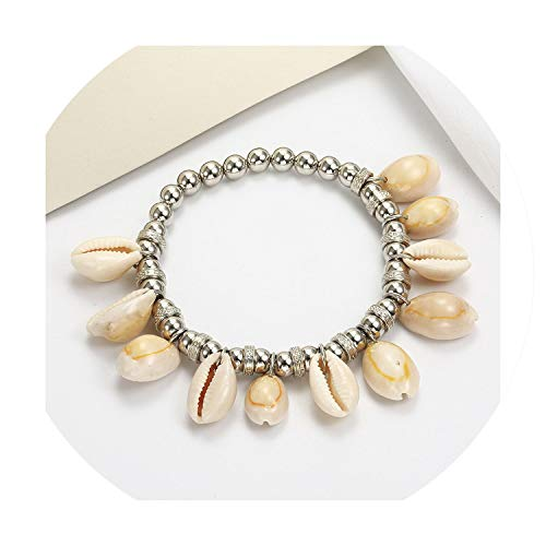 Vintage Leather Ankle Bracelets Natural Shell Cowrie Beach Sandal Anklet for Women Charming Jewelry ()