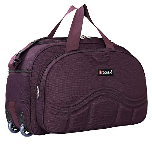 Zion bag Waterproof Polyester Lightweight 60 L Luggage purple Travel Duffel Bag with 2 Wheel