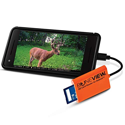BoneView SD Card Reader for Android - Type C USB Trail Camera Viewer Play Deer Hunting Photo & Video from All Game Cam Memory on Any Smart Phone, Samsung, Moto, LG + Free MicroUSB OTG Adapter (Boneview Trail Camera Viewer For Android Phones)