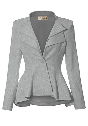 Women Double Notch Lapel Office Blazer JK43864 1073T Heather GR S