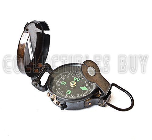Lensatic compass black military compasses vintage antique navigational marine