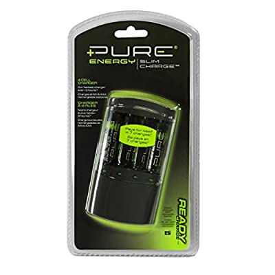Pure Energy Slim Battery Charger with 4 pcs. AA NiMH Rechargeable Batteries