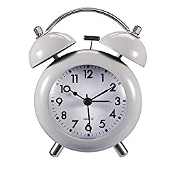 Analog Alarm Clocks - Loud Alarm Clock for Heavy Sleepers   Old Fashion, Twin Bell, Non Ticking, Night Light, Battery Operated Alarm Clock for Kids and Bedroom (Grey)