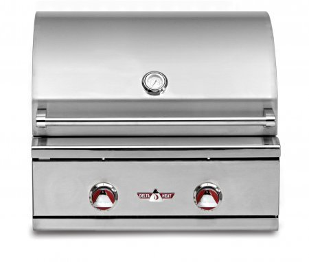 DHBQ26GBN 26'''' Wide Stainless Steel Built-In Natural Gas Grill with 420 sq. in. Cooking Area 2 Main Burners (20 000 Btu's Each) and Interior Halogen Light by Delta Heat