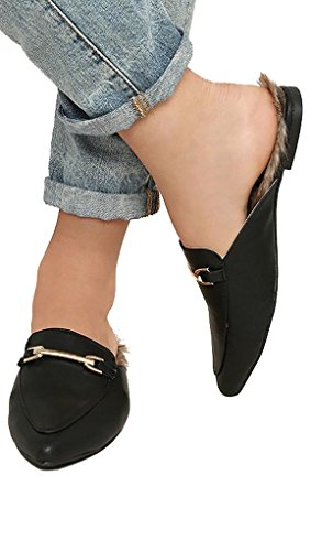 Qupid Noir Fausse Fourrure Loafer Boucle Dos Nu Bout Pointu Chaussures Noires