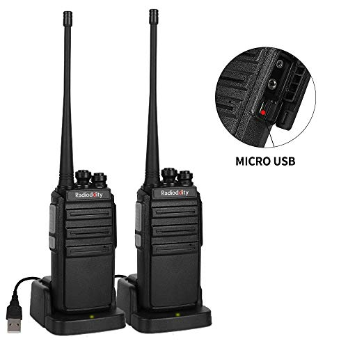 - Radioddity GA-2S UHF Two Way Radio 16CH Rechargeable VOX Long Range Walkie Talkies with Micro USB Charing + USB Desktop Charger + Earpiece, 2 Pack