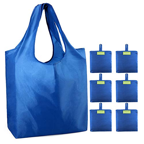 Cobalt Blue Reusable Grocery Bags Heavy Duty XLarge 50 LBS 6 Pack Foldable Shopping Bags w Pouch Machine Washable Eco-Friendly Grocery Tote Bag Lightweight Durable Ripstop Nylon