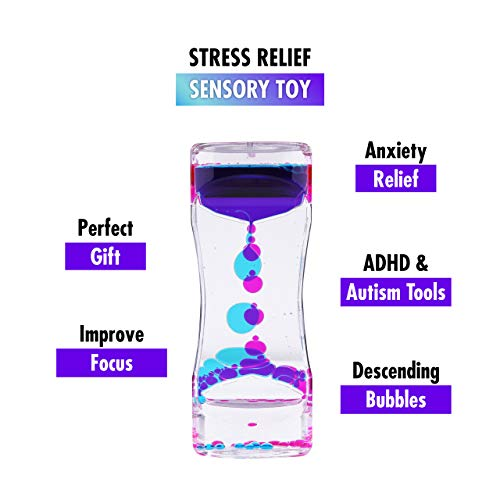 Liquid Motion Bubbler Sensory Toys – 2 Pc Set Bundle Stretchy String Fidget  Toys Timer for Stress Relief and Anxiety Relief Great for Adults, Kids