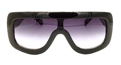 Shield Flat Top Ombre Women Designer Celebrity Sunglasses (Black, Black) ()