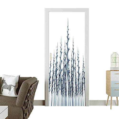 (Door Sticker Wall Decals Picture Tall Nature Blueprint Ative Teal White Easy to Peel and StickW32 x H80 INCH)