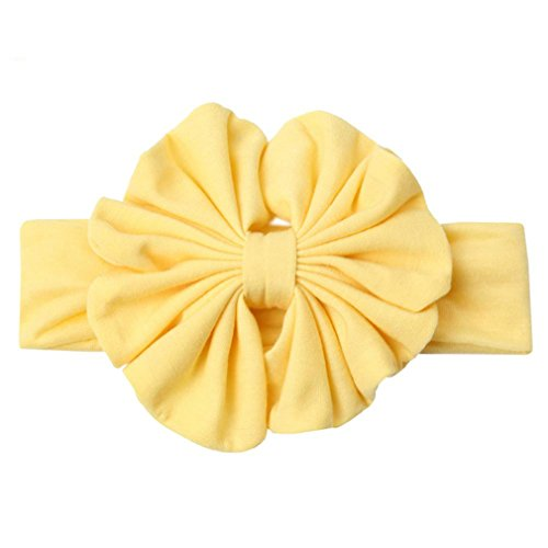 (1PC 5'' Big Floppy Bow Headband For Girls Solid Large Cotton Hair Bows Elastic Headbands Kids Turban Hair Band Hair Accessories pale yellow)