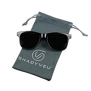 ShadyVEU - Exclusive Super Dark Lens Retro 80's Spring Hinge Wayfarer Sunglasses (Glossy Black, 146)