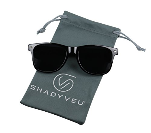 ShadyVEU - Exclusive Super Dark Lens Retro 80's Spring Hinge Wayfarer Sunglasses (Glossy Black, - Migraine Sunglasses