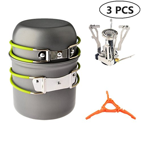 (Camp Stove, Petforu Ultralight Portable Outdoor Camping Stove Hiking Backpacking Picnic Cookware Cooking Tool Set Pot Pan & Piezo Ignition Canister Stove & Canister Stand Tripod)