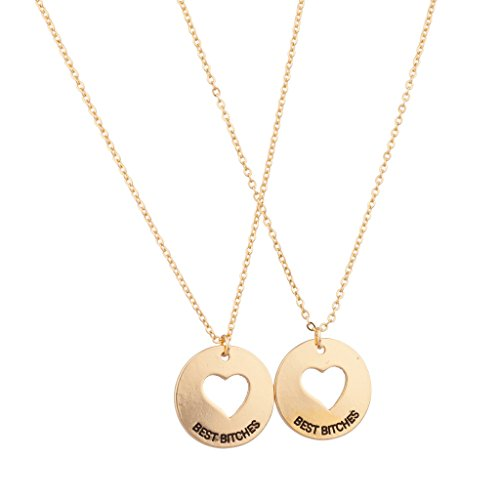 Lux Accessories Cutout Heart Best Bitches Bitch BFF Best Friends Forever Necklace Set (2 PC)