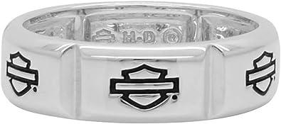 Harley-Davidson Men/'s Outline Bar /& Shield Stainless Steel Band Ring HSR0025