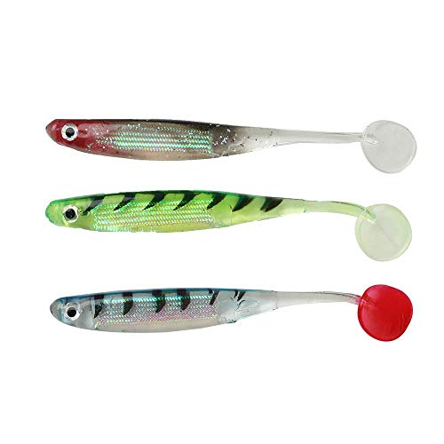 YLQM Soft Fishing Lures Shad Fishing Bait Mixed Color Pack of 10 Pieces 5 Colors 3D Eyes (Mixed Colors 10 Pieces) ()