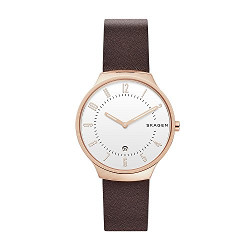Skagen Men's Quartz Stainless Steel and Leather Casual Watch, Color:Brown (Model: SKW6458)