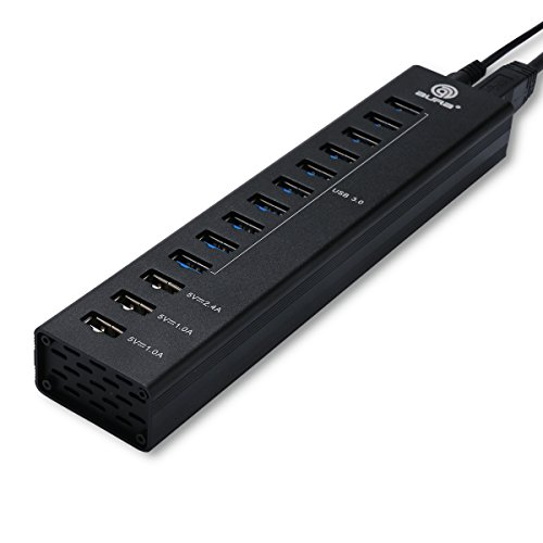 13 Port USB Hub, PESTORY Aluminum USB 3.0 Combo Hub [10 USB 3.0 Ports & 3 Smart Charging Ports] LED Indicator 4.9 Feet Power Cable
