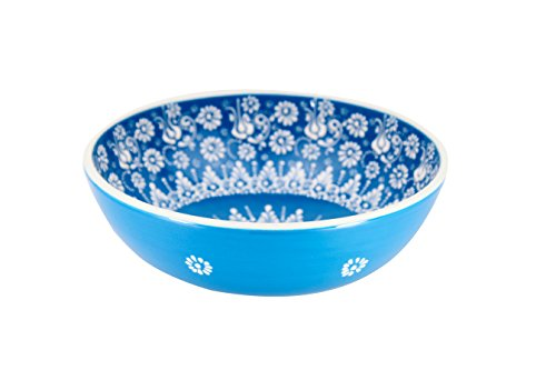 Handmade Ceramic Salad  Serving And Mixing Bowl With Flowers   12 Different Colors And Patterns   10 Inch   Great Serving Bowls For Fruit  Salad  Rice  Greek Blue