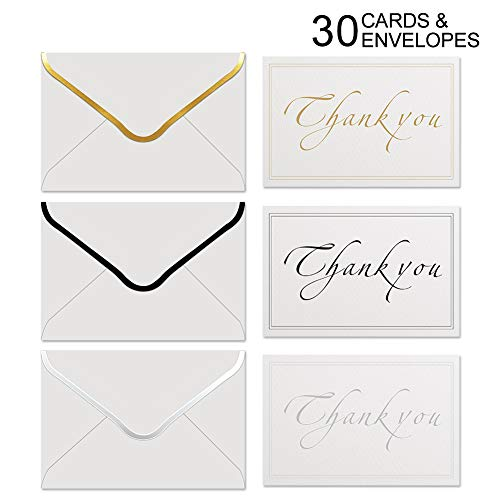 Thank You Cards Set with Self Seal Thick Envelopes, Premium Gold Silver Black Foil Lettering Assorted Greeting Note Cards for All Occasion, Business, Wedding, Bridal Shower, Graduation (30 Pack) ()