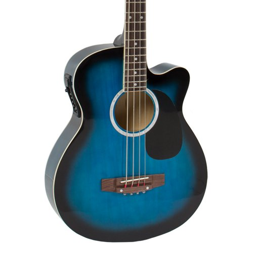 Electric Acoustic Bass Guitar Blue Solid Wood Construction With Equalizer - Image 2