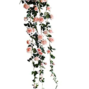 Get Orange 72 Inch rose Garland Artificial Rose Vine with Green Leaves Flower Garland For Home Wedding Decor (1, Pink) 111