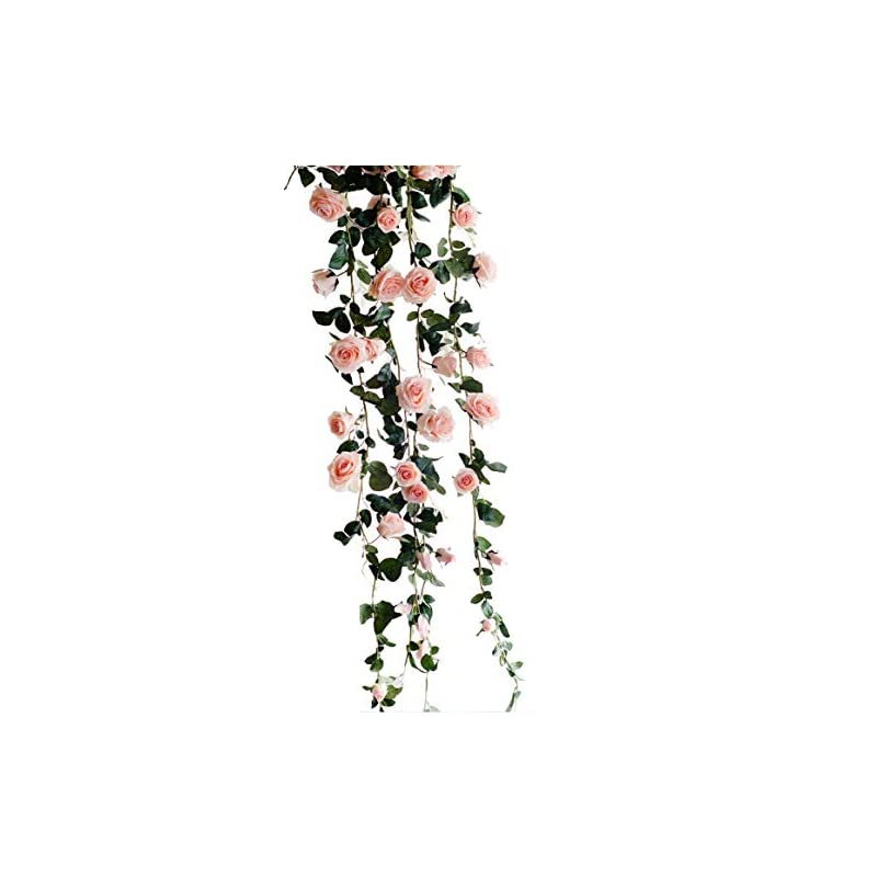 silk flower arrangements get orange 72 inch rose garland artificial rose vine with green leaves flower garland for home wedding decor (1, pink)