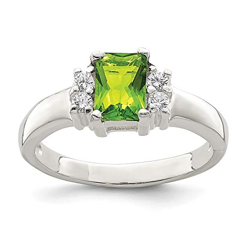 Solid 925 Sterling Silver Lime Green & White Cubic Zirconia CZ Fashion or Engagement Ring (2mm)