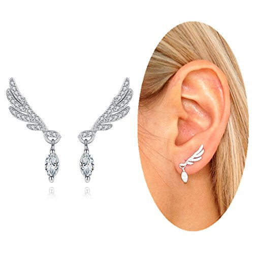 Jewelry Fashion Angel Wings Ear Crawler Cuff Earrings Cubic Zirconia Ear Stud Earrings Jackets