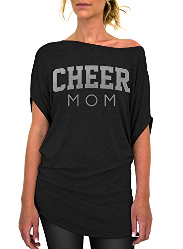 Dentz Design Cheer Mom Standard Slouchy Tee - Small Black Silver (Cheer T-shirt Designs)