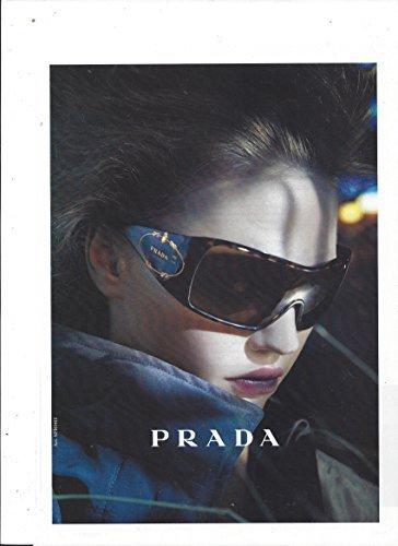PRINT AD With Sasha Pivavarova For Prada Black Logo Frame - Ad Sunglasses Prada