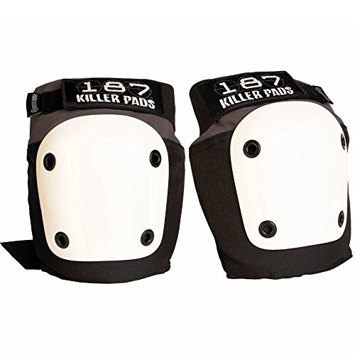 187 Killer Pads Fly Knee Pads - Grey w/ White Caps - Large