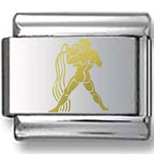 Water Gold Laser Charm (Aquarius the Water Carrier Gold Zodiac Icon Laser Italian Charm)