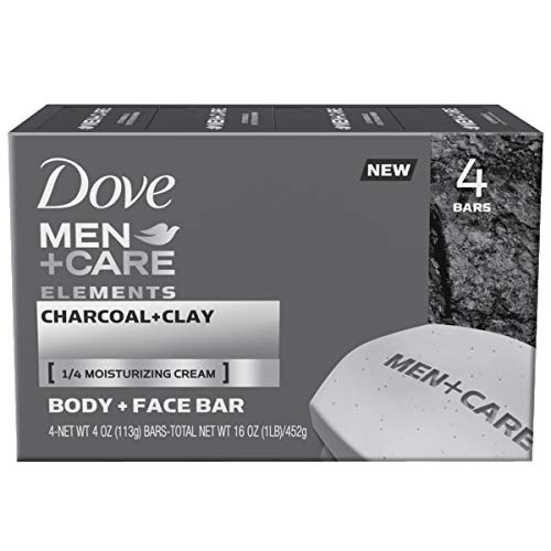 Dove Men+Care Elements Body and Face Bar Charcoal + Clay 4 oz, 4 Bar
