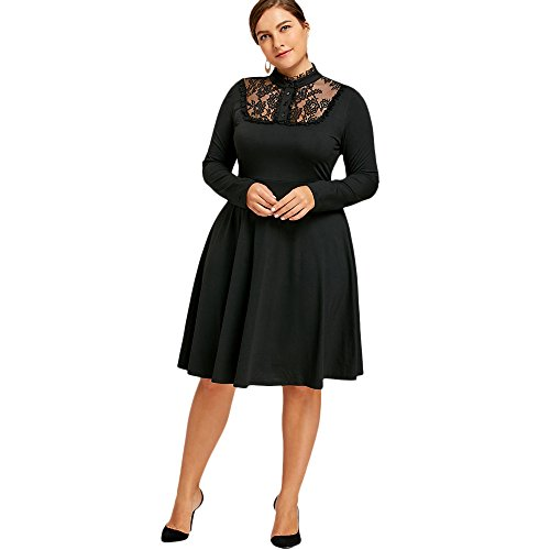 CHARMMA Women's Plus Size Stand Collar Long Sleeve Lace Panel Swing Dress (Black, 3XL) (Lace Panel Stand Collar)
