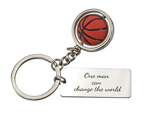 Personalized Basketball Keychains (Personalized Stainless Steel Keychain,Ball Pendant,Gift for Birthday and Anniversary Graduation Gift)