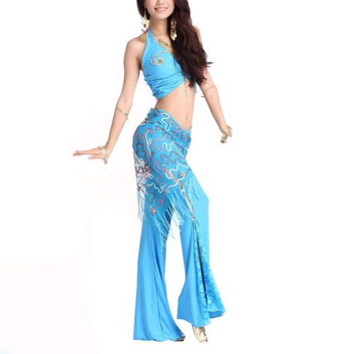 BellyLady Practice Belly Dance / Yoga Costume, Halter Tribal Top and Lace Pants BLACK