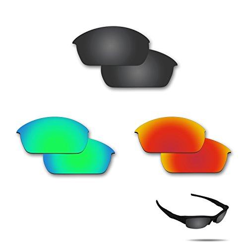 Fiskr Anti-saltwater Polarized Replacement Lenses for Oakley Flak Jacket Sunglasses 3 Pair - Eye Jacket Lenses Oakley