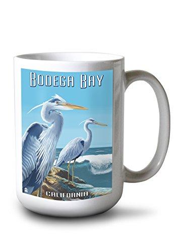 Heron Bay Wall - Lantern Press Bodega Bay, California - Blue Heron (15oz White Ceramic Mug)