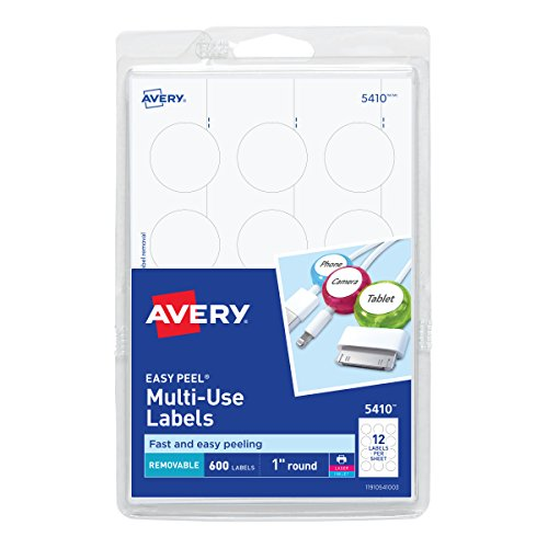 Dots Boxes Printable (Avery Self-Adhesive Removable Labels, 1-Inch Diameter, White, Pack of 600 (5410))