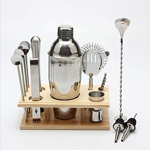 Cocktail Shaker Bar Set, Rackaphile 14 Pieces Bartender Kit Tools Professional Stainless Steel: 25 oz Martini Shaker, 2 Liquor Pourers, Double Sided Jigger, Muddler, 4 Straw Spoons, Strainer and More