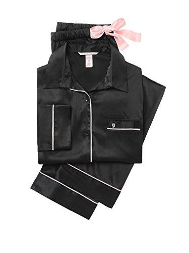 e Afterhours Satin Pajama Set 2 Piece Set Black Large Size Regular Length ()