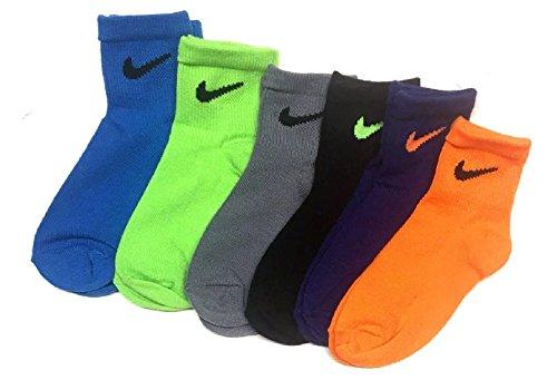 Nike Little Boy's Quarter Socks Size 6-7 /US Shoe Size 13C- 3Y Assorted (Socks Nike Boy)