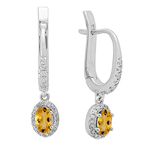 - Dazzlingrock Collection 10K 5X3 MM Each Oval Citrine & Round Diamond Ladies Dangling Drop Earrings, White Gold