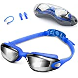 Swim Goggles, Swimming Goggles, UV 400 Protection Anti Fog No Leaking Wide View Pool Goggles with Ear Plug Nose Clip & Protective Case for Women Men Adult Youth