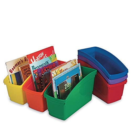S&S Worldwide Assorted Color Book Bins (Pack of 6)